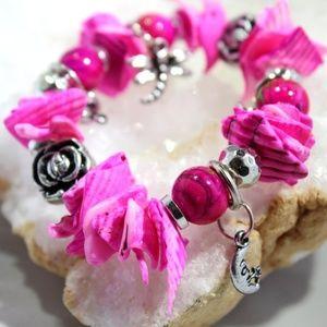 Jewelry - Charm Bracelet leaf, key, dragonfly, half moon